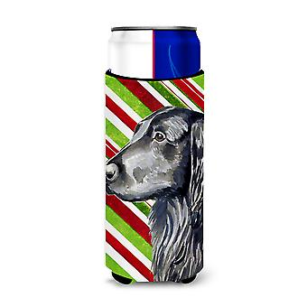 Flat Coated Retriever Candy Cane Holiday Christmas Ultra Beverage Insulators for
