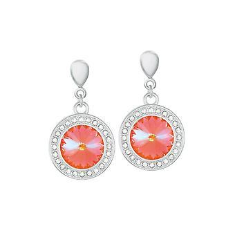 Eternal Collection Viva Ultra Orange Autrichien Crystal Silver Tone Drop Boucles d'oreilles percées