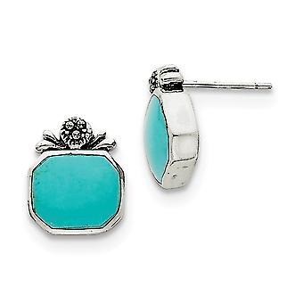 925 Sterling Zilver gepolijst Post Oorbellen antieke afwerking gemaakt gesimuleerde turquoise oorbellen sieraden geschenken voor vrouwen
