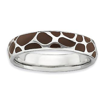 925 Sterling Silver Brown Enamel Rhodium plated Stackable Expressions Polished Enameled Animal Print Ring Jewelry Gifts