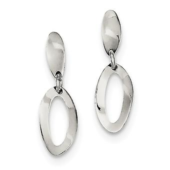 925 Sterling Silver Polished Oval Dangle Post Earrings - 1.8 Grams