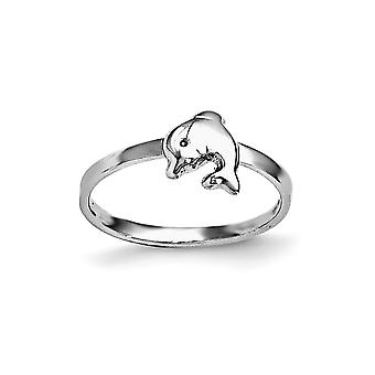 925 Sterling Silver Rh Plated for boys or girls Polished Dolphin Ring - Ring Size: 3 to 4