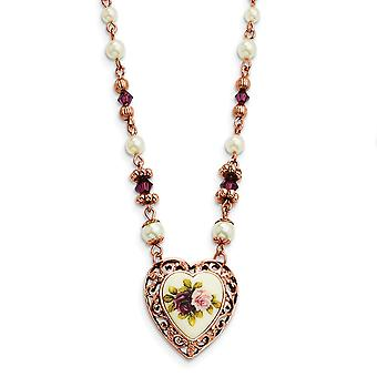 Fancy Lobster Closure Rose tone Prpl Crystal Floral Glass Pearl Love Heart 15 In Neck Jewely Gifts for Women
