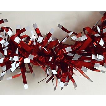 2m Chunky Red Tinsel with White Tips for Christmas Tree Decoration
