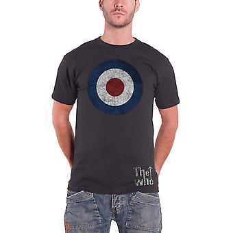 The Who T Shirt Distressed Target band Logo Official Mens Black