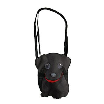 Black Lab Puppy In Red Collar Crossbody Purse Small