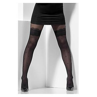 Womens Sheer Strumpfhose schwarz Polka Dot Fancy Dress Zubehör