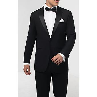 Dobell Mens Black 2 Piece Tuxedo Regular Fit 1 Button Notch Lapel