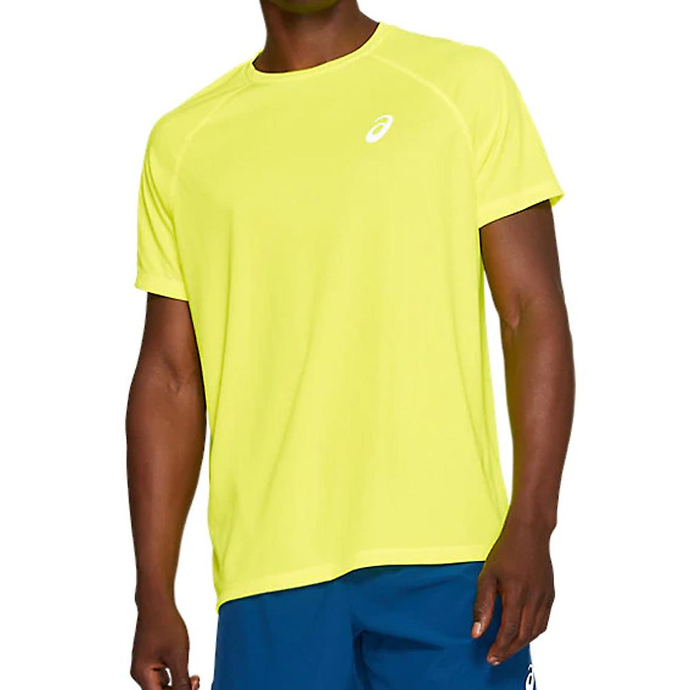 Asics Sport Run Mens Running Exercise Fitness T-Shirt Shirt Tee Yellow