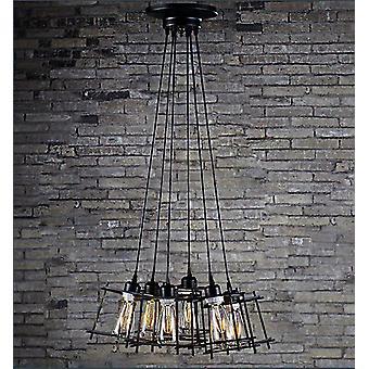Titania 6-light Black Adjustable Cord 8-inch Edison Chandelier with Bulbs
