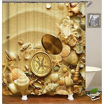Shells And Compass On The Beach Shower Curtain