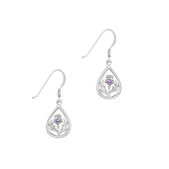 Scottish Thistle The Flower Of Scotland Teardrop Pair Of Earrings - Amethyst Colour Stone