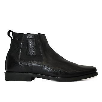 تشريحية ناتال الأسود الجلد الرجال سحب على أحذية تشيلسي
