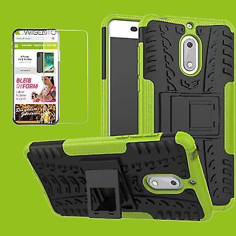 Voor Nokia 3.1 5.2 inch 2018 hybrid case tas 2 stuk groen + gehard glas gevaldekking van mouw nieuw