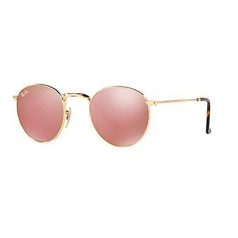 Ray-Ban Round metal RB3447N 001/Z2 glänsande guld/koppar spegel solglasögon