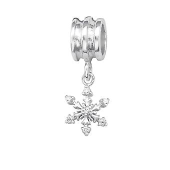 Snowflake - 925 Sterling Silver Jewelled Beads - W29536X