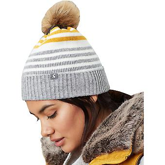 Joules Womens Chillaway Soft Knitted Striped Beanie Hat