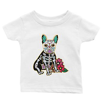 Frenchie Day Of Dead Funny Halloween Costume Cute Baby Gift Tee White