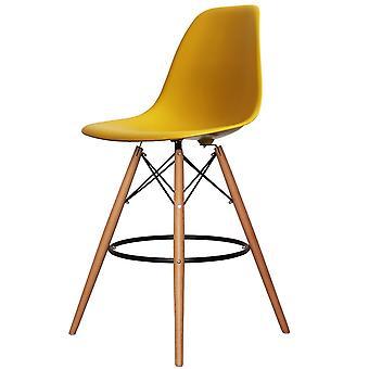 Charles Eames Style Mustard Yellow Plastic Bar Stool