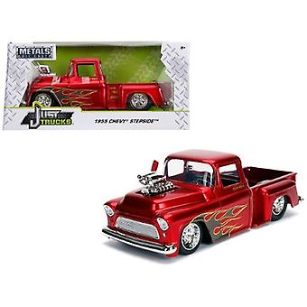 1955 Chevrolet Stepside Pickup Truck with Blower Candy Red with Flames Just Trucks Series 1/24 Diecast Model Car by Jada