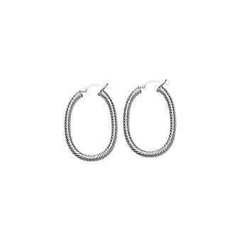 925 Sterling Silver Rhodium Vergulde Twist Oval Hoop Oorbellen Sieraden Geschenken voor vrouwen - 5,9 gram