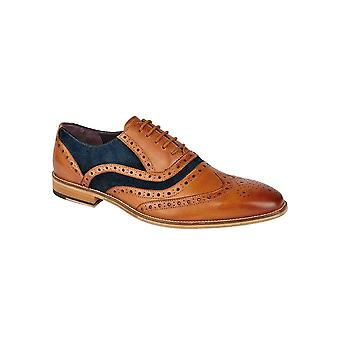 Roamers Tan Leather/suede 5 Eyelet Brogue Oxford Textile/pu Lining & Sock Tunit Sole