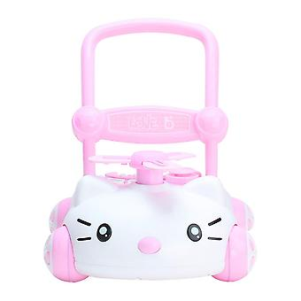 RideonToys4u Baby Sit to Stand Push Along Walker With Music and LED lights Pink