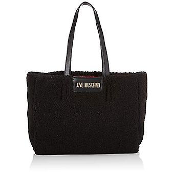 Love Moschino Bag Pu Ed Eco Shearling Tote Woman (Black) 28x43x12 cm (W x H x L)