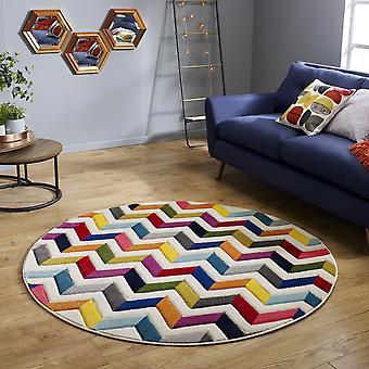 Spectrum Bolero Round Circle Multicoloured Rainbow Chevron Rugs