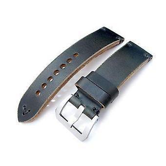 Strap strap de montre en cuir Strapcode 24mm miltat horween chromexcel bracelet de montre, vert noirâtre, couture grise
