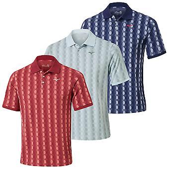 Mizuno Mens 2020 Micro Hexagon Jacquard Short Sleeve Stretch Golf Polo Shirt