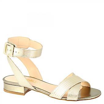 Leonardo Schuhe Frauen 's handgemachte niedrige Fersen Sandalen aus gold Leder mit Schnalle