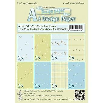 LeCrea Design A5 Paper - Music Blue/Green 5(16 Sheets, 170gsm)