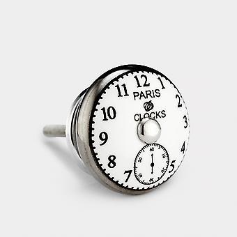 Keramische deurknop - Wit / Zilver - Paris Clock