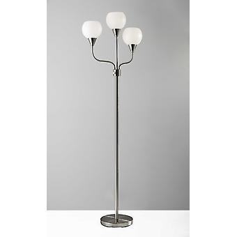 Floor Lamp Brushed Steel Metal Three Arm Adjustable Globes