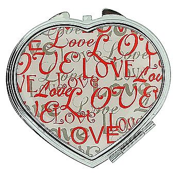 FMG Silver Plated Finish Heart Shaped Compact Mirror With The Word Love On Cover SC604