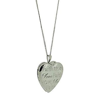 """TOC Sterling Silver """"Faith Hope Love"""" Heart Locket Necklace 18"""""""