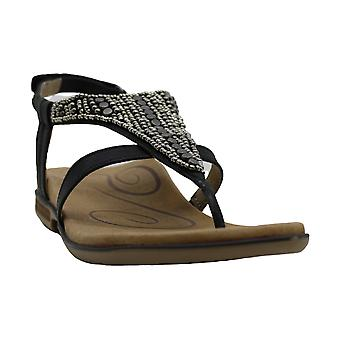 Aetrex Womens Sheila Leather Open Toe Casual T-Strap Sandals