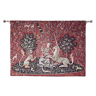 Wall hanging-lady & unicorn sense of sight | home decor, wall tapestry - available in two sizes