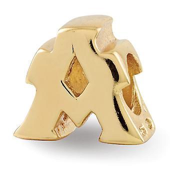 925 Sterling Silber poliert 14 k gold vergoldet Reflexionen Brief Name personalisierte Monogramm initial eine Perle Charme Anhänger