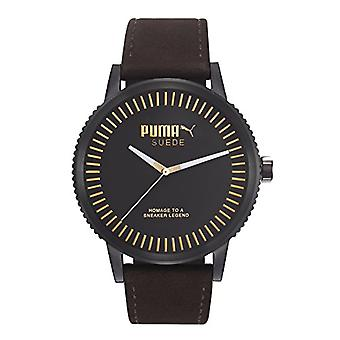 Cougar Time Suede wrist watch, analog, male, Brown leather strap,
