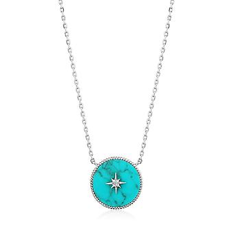 Ania Haie Hidden Gem Rhodium Turquoise Emblem Necklace N022-02H