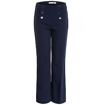 Oui Navy High Waisted Trousers