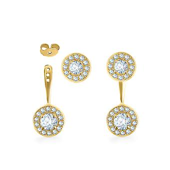 Earrings Athena Double 18K Gold and Diamonds - Yellow Gold