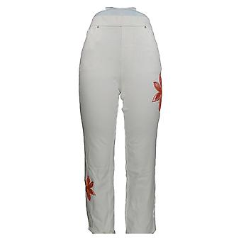 Belle by Kim Gravel Women's Jeans Embroidered Cropped White A305594