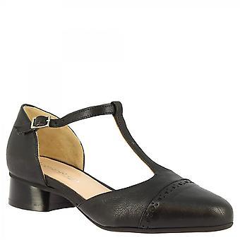 Leonardo Sko Dame's håndlagde lav hæl t-strap pumper sko svart napa skinn