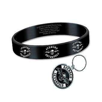 Avenged Sevenfold Wristband and Keyring Death Bat band Logo official Gift set