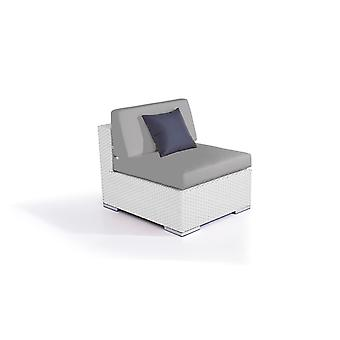 Polyrattan Cube Stredná Ofa - biely satén