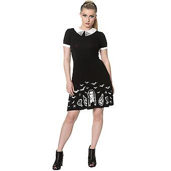 Yasaklı - siyah sihirli elbise - women's jersey elbise, siyah