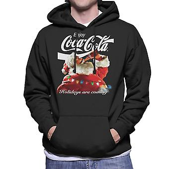 Coca Cola Holidays Are Coming Lights Men's Hooded Sweatshirt